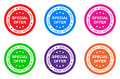 Special offer illustration of labels on six colors Royalty Free Stock Image