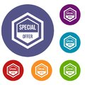 Special offer pentagon icons set