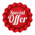 Special offer price tag vector star sticker red round icon for shopping Stock Photo