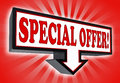 Special offer sign with arrow down red and black on red striped background clipping path included Royalty Free Stock Photos