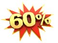 Special offer sixty percent red icon of starburst with golden sign of isolated Royalty Free Stock Photos