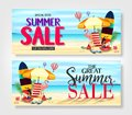 Special Offer Summer Sale Banners with Palm Tree Leaves, Flowers, Watermelon, Sunglasses