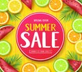 Special Offer Summer Sale in Circle Tag Poster with Tropical Fruits Such as Orange, Lime, Lemon and Watermelon