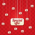 Special offer vector poster with percent discount abstract sale background shopping modern icons Stock Images
