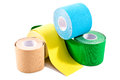 Special physio tape rolling on white background Royalty Free Stock Images