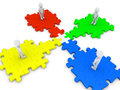 Special puzzle piece joins four people d standing at platforms Royalty Free Stock Photography