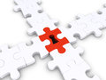 Special puzzle piece joins others d with keyhole other pieces Stock Photo