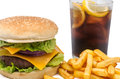 Special snack photography studio a burger with fries and a coke Royalty Free Stock Photography