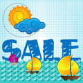 Special summer sale with sun and cloud Royalty Free Stock Image
