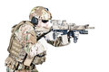 Special warfare operator bearded with assault rifle Royalty Free Stock Image