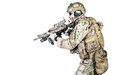 Special warfare operator bearded with assault rifle Stock Images