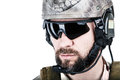 Special warfare operator close up image of bearded in protective helmet Royalty Free Stock Image