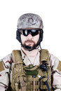 Special warfare operator close up image of bearded in protective helmet Stock Images