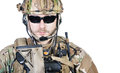 Special warfare operator close up image of bearded in protective helmet Stock Photo
