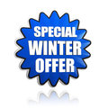 Special winter offer in d blue star banner with white text business seasonal concept Stock Photography