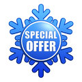 Special winter offer snowflake label Stock Photography