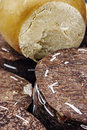 Specific cheese from romania wrapped in fir bark and smoked area brasov Royalty Free Stock Images