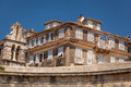Specific old corfu town facades greece photo taken in Royalty Free Stock Image