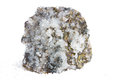 Specimen of calcite and iron pyrites white crystals metallic brass yellow or fools gold an abundant mineral mined as an ore Royalty Free Stock Images