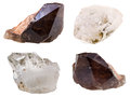 Specimens of quartz crystals isolated on white background Royalty Free Stock Images