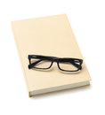 Spectacles on book pair of and text white background Royalty Free Stock Image