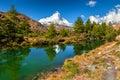 Spectacular autumn alpine landscape with Grindjisee lake,Zermatt,Switzerland,Europe Royalty Free Stock Photo