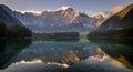 Spectacular beautiful sunrise over lake laghi di fusine italy Royalty Free Stock Image