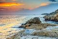 Spectacular rocky beach and beautiful sunset near Rovinj,Istria,Croatia Royalty Free Stock Photo