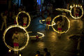 A spectacular site as fire ball dancers perform along colombo street in kandy during the esala perahera in sri lanka procession Stock Image