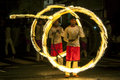 A spectacular site as Fire Ball Dancers perform along a street in Kandy during the Esala Perahera in Sri Lanka. Royalty Free Stock Photo