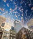 Spectacular street upward view of manhattan skyscrapers new yo york city Royalty Free Stock Image