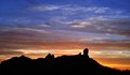 Colorful sky at sunset on natural park Roque Nublo, Gran canaria island Royalty Free Stock Photo