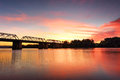 Spectacular sunset over nepan river penrith the nepean near the old victoria bridge Royalty Free Stock Photography