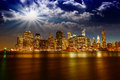 Spectacular sunset view of lower manhattan skyline from brooklyn bridge park Royalty Free Stock Photos