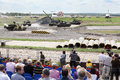 Spectators and dancing tanks zhukovsky june at second international forum engineering technologies on june in zhukovsky near Royalty Free Stock Image