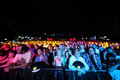 Spectators on party of militia wave radio moscow jun under color light in the live stadium june in moscow russia Stock Image