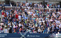 Spectators standing at arthur ashe stadium for american anthem performance during opening ceremony for arthur ashe kids day new Stock Images