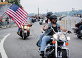 Spectators Wave US Flags During Rolling Thunder Royalty Free Stock Photo