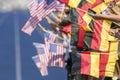 Spectators waving flags Germany USA Royalty Free Stock Photo