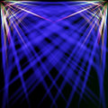 Spectral and blue rays abstract dark background with from two top corners Stock Photography