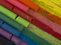 Spectrum of artistic crayons close up dry pastels Royalty Free Stock Images