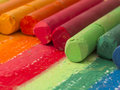 Spectrum of artistic crayons close up dry pastels Stock Photos