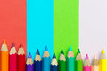 Spectrum of color pencils with copyspace Stock Photography