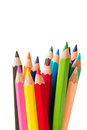 Spectrum of color pencils with white copyspace Stock Images