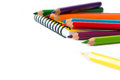 Spectrum of color pencils with white copyspace Stock Image