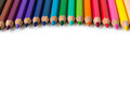 Spectrum of color pencils with white copyspace Royalty Free Stock Photography