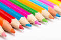 Spectrum colors of coloring pencils on white background Royalty Free Stock Image