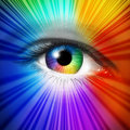 Spectrum eye concept as a human iris and pupil with reflective multicolored star burst effect as a metaphor for fashion beauty and Royalty Free Stock Images