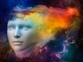 Spectrum of the mind colorful series abstract design made human head and fractal colors on subject dreams thinking consciousness Stock Photos