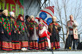 Speech amateur choral collective during Shrovetide celebrations, Royalty Free Stock Photo